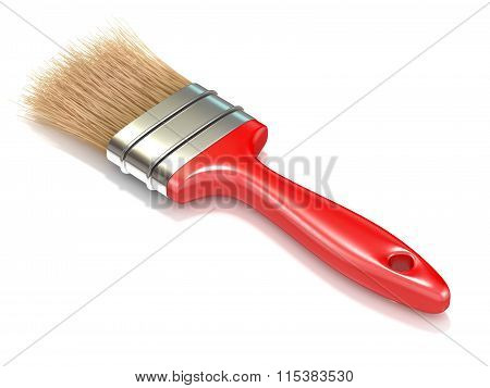 Red paintbrush back view. 3D render