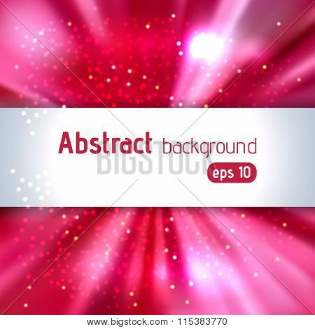 Abstract Artistic Background With Place For Text. Pink, Red Colors. Color Rays Of Light. Original Sp