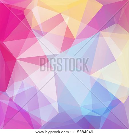 Polygonal Vector Background. Pink, Yellow, Blue, White Color. Can Be Used In Cover Design, Book Desi