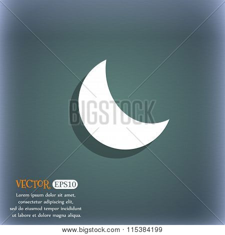 Moon Icon. On The Blue-green Abstract Background With Shadow And Space For Your Text.