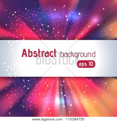 Background With Colorful Light Rays. Pink, Orange, Gray Colors. Abstract Background. Vector Illustra
