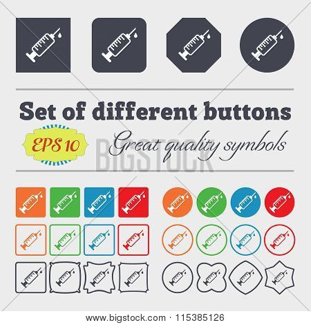 Syringe Icon Sign. Big Set Of Colorful, Diverse, High-quality Buttons.