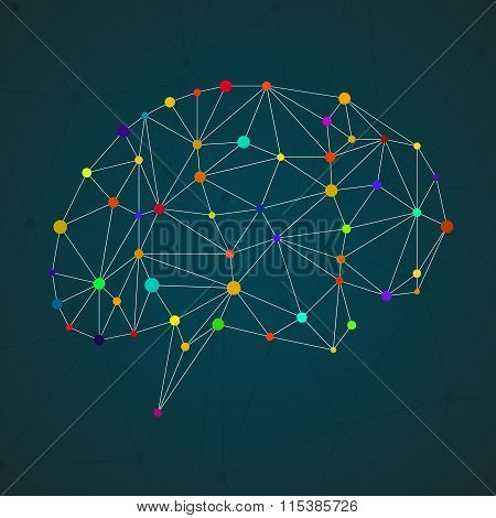 Abstract geometric brain network connections. Vector illustration