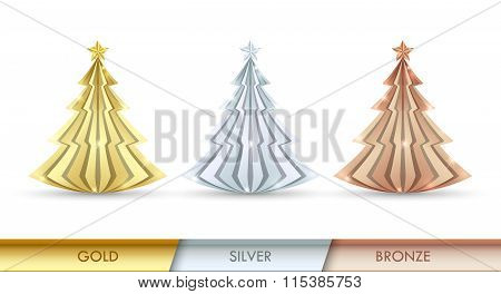 Simple Golden, Silver And Bronze Christmas Trees