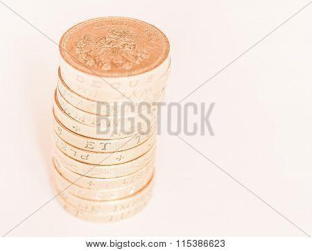 Pound Coin Pile Vintage