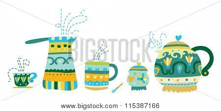 Cute tea and coffee accessories in a colorful, contemporary style.