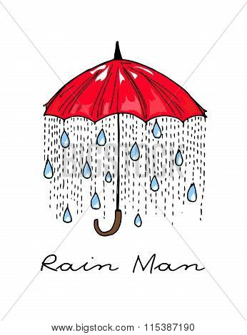 Hand-drawn Illustrations. Rain Under A Red Umbrella. Postcard Rain Man.