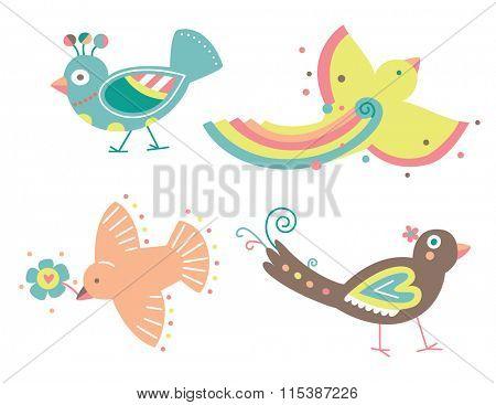 Set of cute vector birds in a decorative contemporary style.