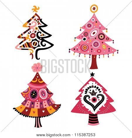 Decorative Christmas tree in contemporary style.