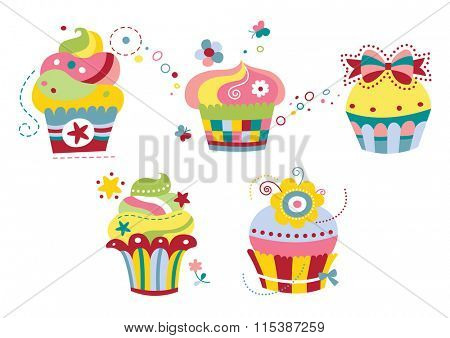Set of five cute cupcakes in contemporary style with happy colors.