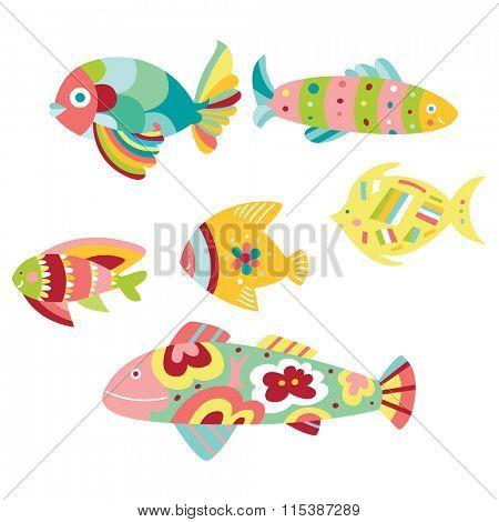 Set of colorful decorative fish