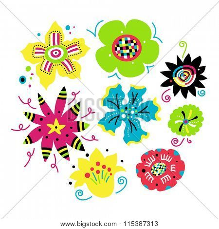 Collection of funky flowers in vivid colors.
