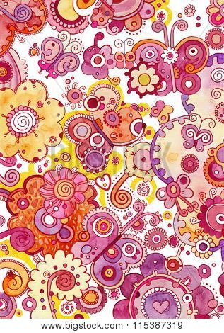 Whimsical surface with stylized butterflies and flowers.