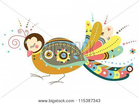 Decorative bird in contemporary style.