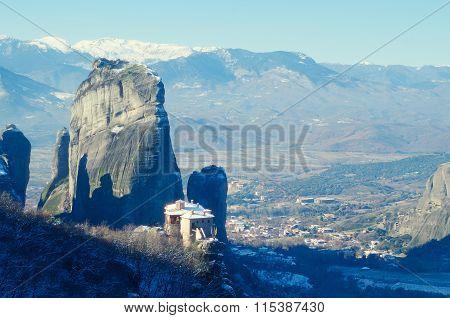 Beautiful Meteora Mountains Landscape. Nature Of Greece. Meteora Monasteries In Winter