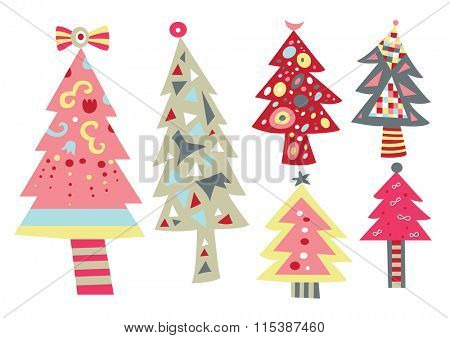 Collection of pretty, contemporary Christmas trees.