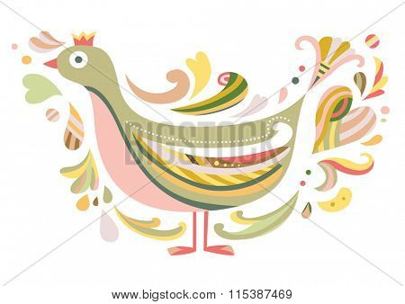 Decorative bird in contemporary style, inspired by folklore.