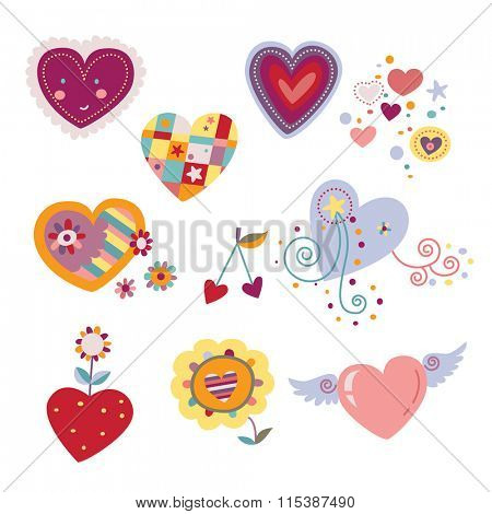 Collection of decorative hearts.