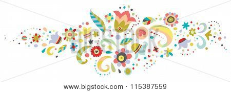 Floral ornament suitable for use as a divider or border.