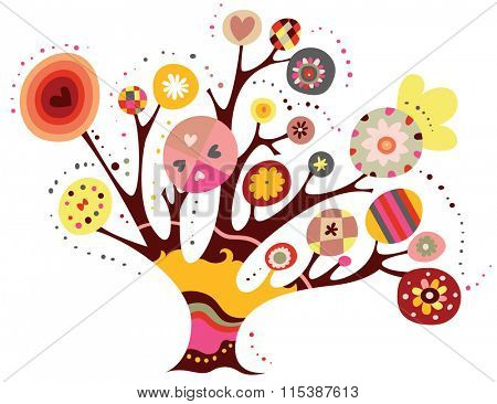 Whimsical tree with geometric shapes and bright colors.