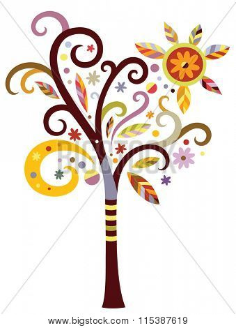 Decorative tree with swirls and leaves in a modern color palette.