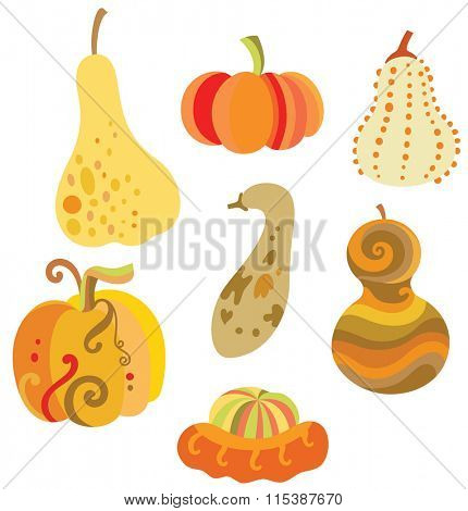 Collection of fun pumpkins with various shapes.