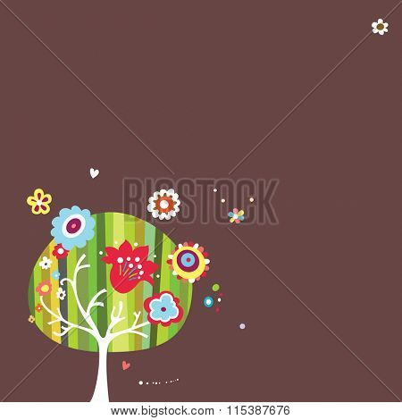 Dark colored background with whimsical tree and floral elements.