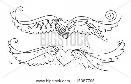 Set of two winged hearts in a simple, line art style. Flowy, epurated shapes.