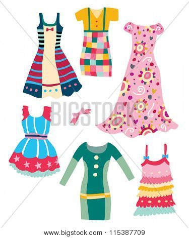 Collection of cute, colorful dresses with various shapes and patterns.