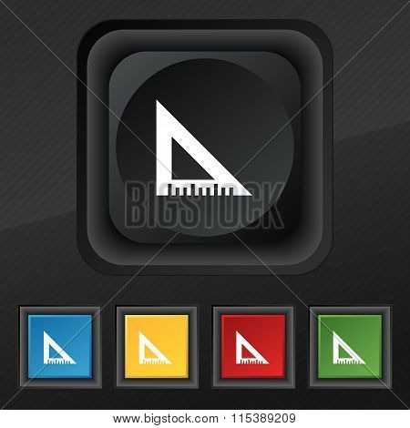 Ruler Icon Symbol. Set Of Five Colorful, Stylish Buttons On Black Texture For Your Design.