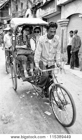 OLD DELHI, 23 March 2015 - Old Delhi street scene, India, Asia