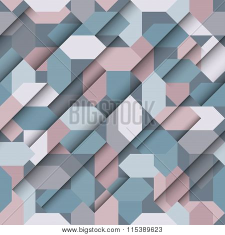Seamless abstract paper geometric pattern blue and grey