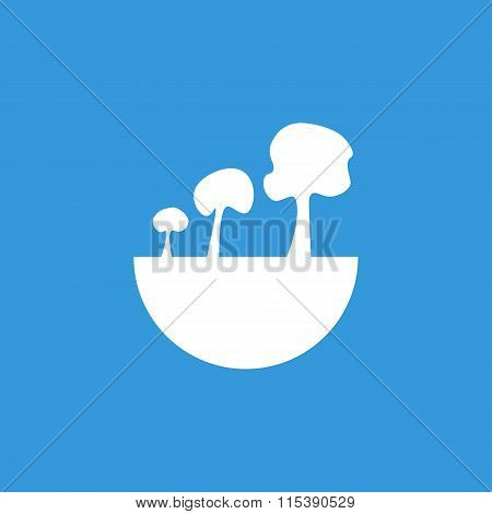 Green City Tree Icon On Blue Background