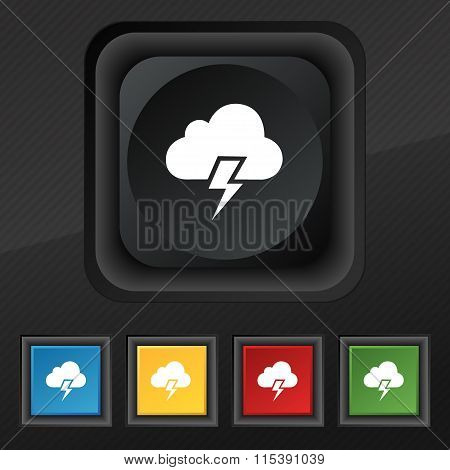 Heavy Thunderstorm Icon Symbol. Set Of Five Colorful, Stylish Buttons On Black Texture For Your