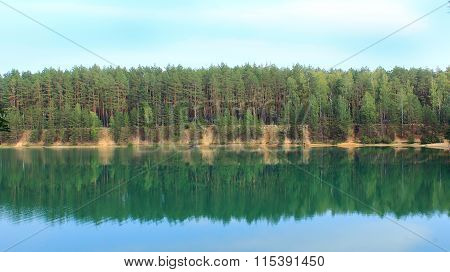 Beautiful Lake With Azure Water In The Forest