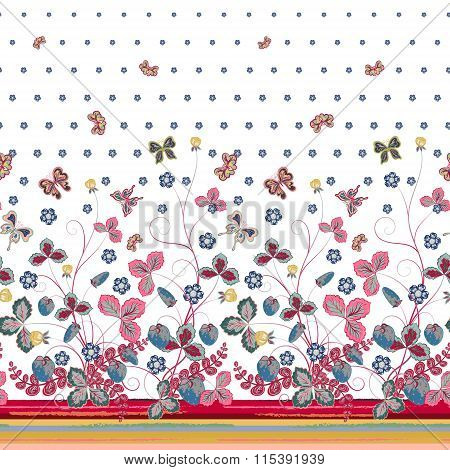 Vector seamless vertical pattern with Decorative gray pink blue strawberry and butterfly ornament on green background. Hand drawn texture for clothes, bedclothes, invitation, card design etc.