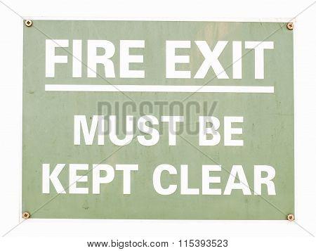 Fire Exit Sign Vintage