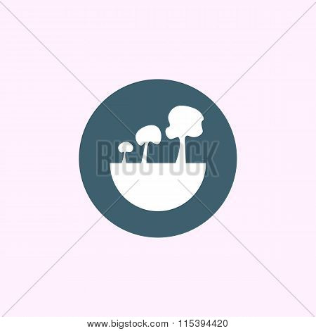 Green City Tree Icon On Blue Circle Background