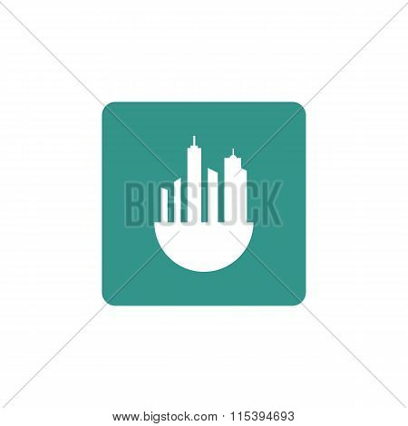 Green City Icon On Coloured Round Background