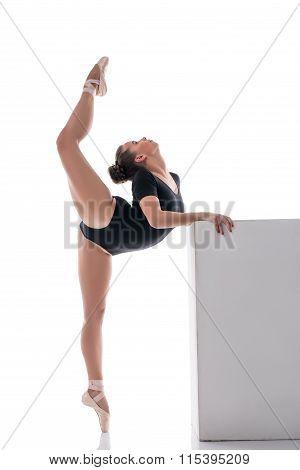 Pretty ballerina performs vertical split in dance