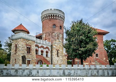 Watchtower And Part Of A Garrison. Horizontal View Of A Restored Watchtower, In A Courtyard..