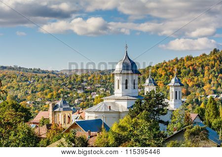 A Village's Church In A Sunny Day. Horizontal View Of The Village's Church In A Sunny Autumn Day,  W