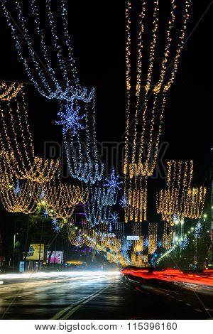 Bucharest, Romania - December 25: Magheru Bvd On December 25, 2015 In Bucharest. New Year And Christ