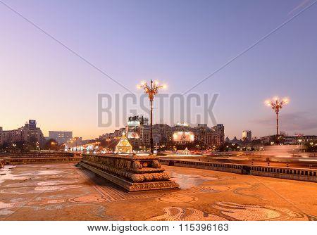 Bucharest, Romania - December 26: Piata Unirii On December 26, 2015 In Bucharest, Romania. Beautiful