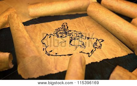 Canada Map Drawing Unfolding Old Paper Scroll 3D