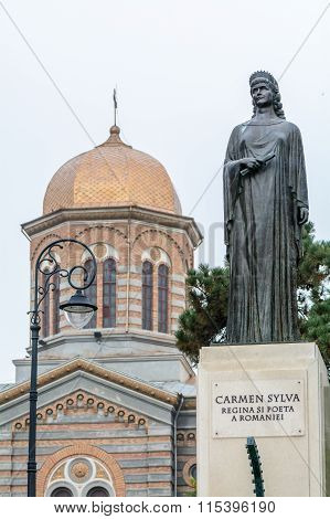 Constanta, Romania - December 26: Carmen Silva Statue Near Center Church, Constanta, Romania. Queen