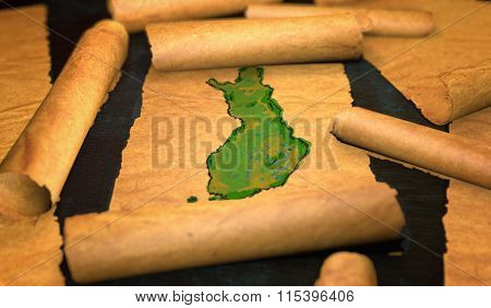 Finland Map Painting Unfolding Old Paper Scroll 3D