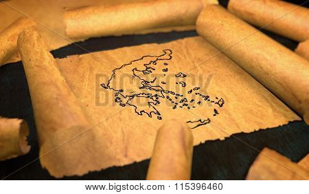 Greece Map Drawing Unfolding Old Paper Scroll 3D