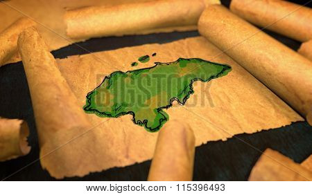 Honduran Map Painting Unfolding Old Paper Scroll 3D