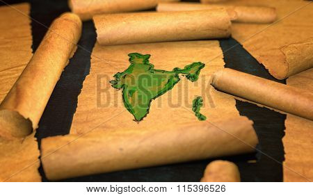 India Map Painting Unfolding Old Paper Scroll 3D